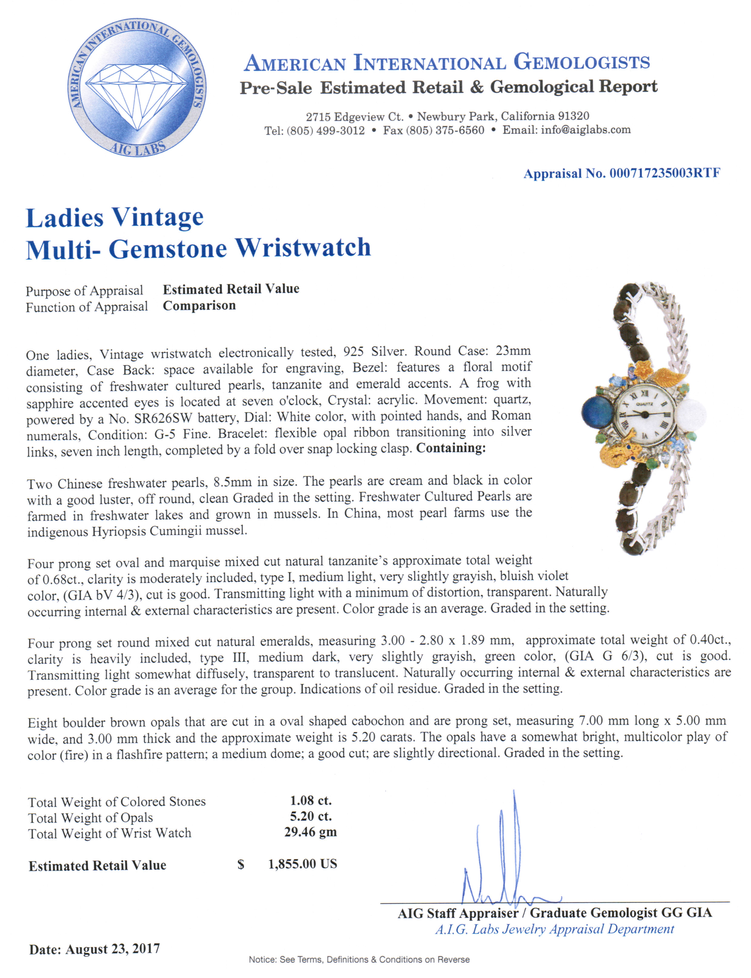 Bid4assets auction detail 766264 1855 aig cert 628 watch watch 1betcityfo Gallery